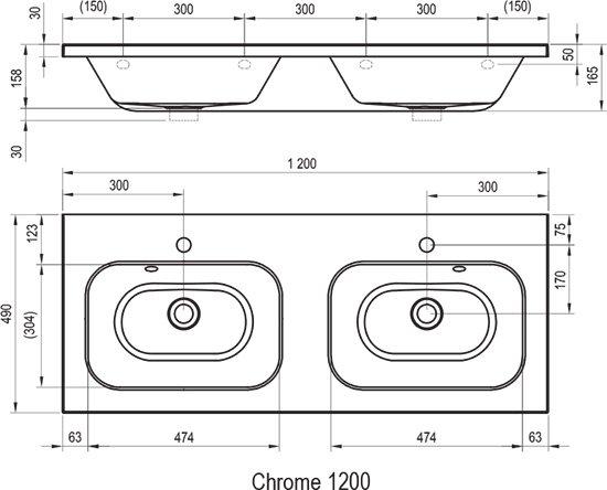 Umywalka podwójna Chrome 1200