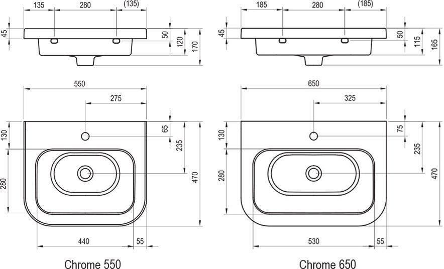 Umywalka ceramiczna Chrome 550/650